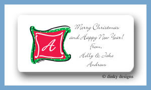 Holiday monogram calling card stickers personalized