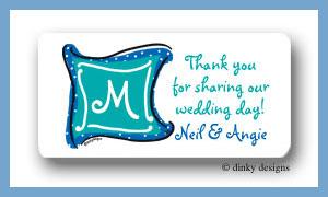 Aquamarine monogram calling card stickers personalized