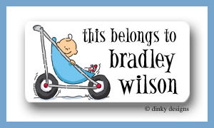 Stroller rides - boy calling card stickers personalized