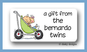 Stroller rides - boy/girl calling card stickers personalized