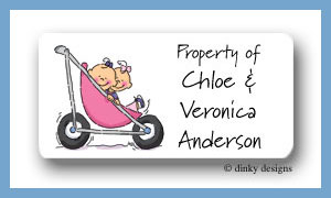 Stroller rides - girl/girl calling card stickers personalized