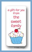 Cupcake treat calling card stickers personalized