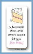 Piece o' cake calling card stickers personalized