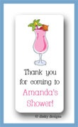 Paradise pink drink calling card stickers personalized
