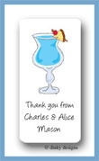 Blue Hawaiian calling card stickers personalized