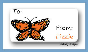 Monarch-y calling card stickers personalized