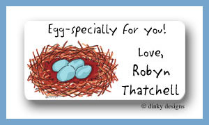 Robin's nest calling card stickers personalized