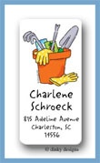 Garden tools calling card stickers personalized