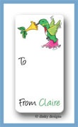 Humming bird calling card stickers personalized