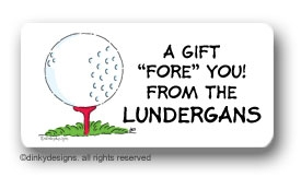 Tee'd off calling card stickers personalized