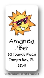 Party sun calling card stickers personalized