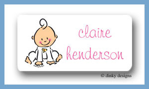 Baby steps - girl calling card stickers personalized