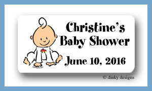 Baby steps - boy calling card stickers personalized