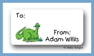 Green dinosaur calling card stickers, personalized
