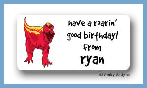 Red dinosaur calling card stickers personalized