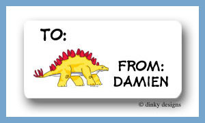Yellow dinosaur calling card stickers, personalized