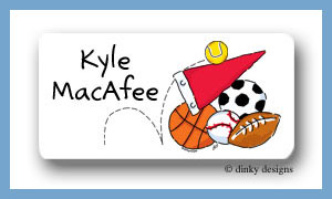 Sports fanatic calling card stickers, personalized