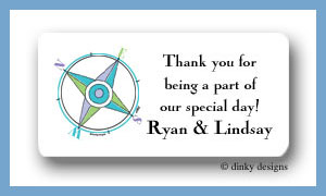 Compass calling card stickers personalized