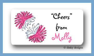 Pom poms calling card stickers personalized
