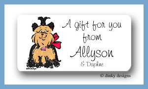 Sassy the Yorkie calling card stickers personalized