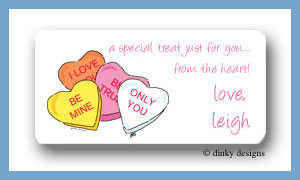 Conversation hearts calling card stickers personalized
