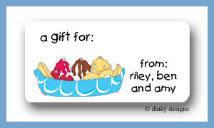 Banana boat calling card stickers personalized