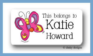 Pansy the flutterby calling card stickers, personalized