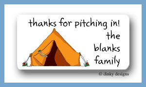 Pitch a tent calling card stickers personalized