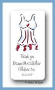 Red line corset calling card stickers personalized