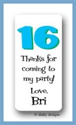 Sweet 16 calling card stickers personalized