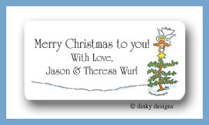 Angelic holiday calling card stickers personalized