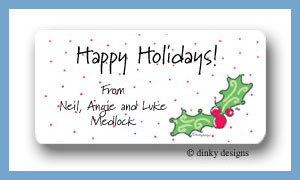 Holly berry Christmas calling card stickers personalized