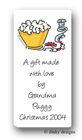 Popcorn & cranberries calling card stickers personalized