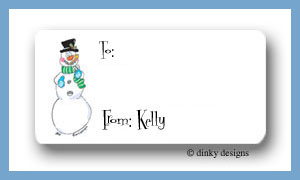 Candy cane snowman calling card stickers personalized