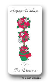 Merry topiary calling card stickers personalized