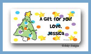 Spruced-up holidays calling card stickers personalized