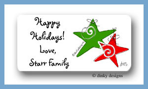 Festive plaid calling card stickers personalized