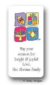 Hanukkah blocks calling card stickers personalized