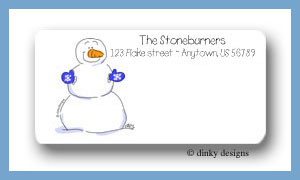 Blue mitten snowman calling card stickers personalized