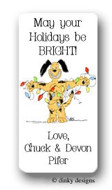 Dog with lights calling card stickers personalized