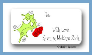 Holly & berries calling card stickers personalized