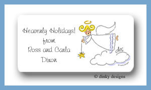 Side view angel calling card stickers personalized