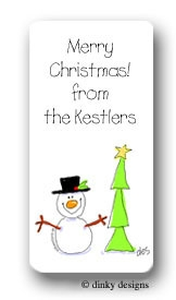 Snowman with tree calling card stickers personalized