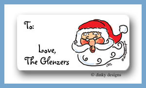 Santa face calling card stickers personalized