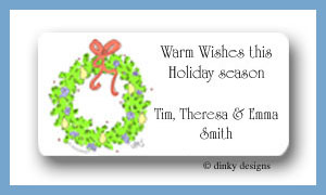 Wreath with pear & berries calling card stickers personalized