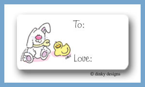 Snuggly bunny & chick calling card stickers personalized