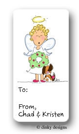 Angel with puppy & ornament calling card stickers personalized
