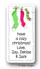 Three stockings calling card stickers personalized