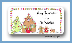 Gingerbread house calling card stickers personalized