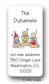Gingerbread carolers calling card stickers personalized